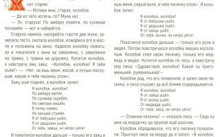 Русская народная сказка «колобок» текст